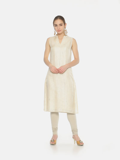 Off White Striped Tussar Kurta - Studio Y