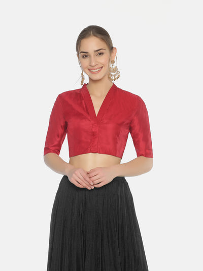 Dark Red Blouse - Studio Y- Readymade Blouses