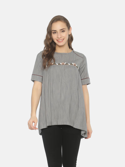 Curved Yoke Top - Studio Y - Elbow Sleeve Tunic Top