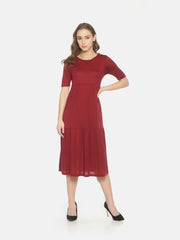 Layered Gathers Dress Maroon - Studio Y