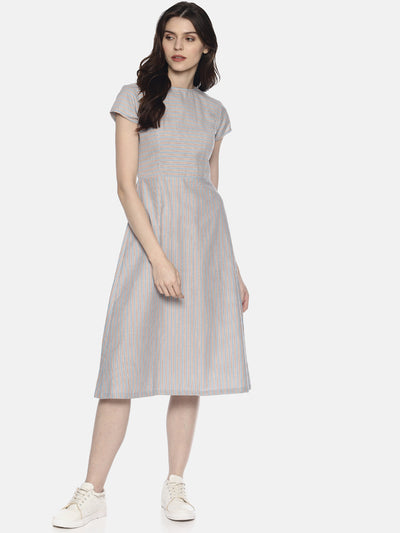 Back Open Dress - Blue Stripes - Studio Y - Cap sleeve midi dress