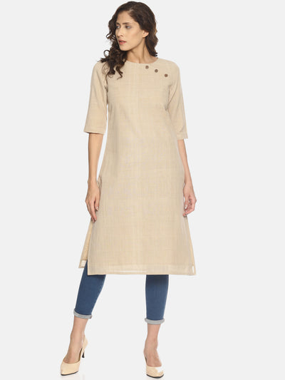 Button Neck Khaki Kurta - Studio Y