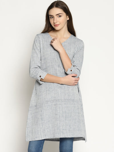 Striped Slit Kurta (Indigo) - Studio Y
