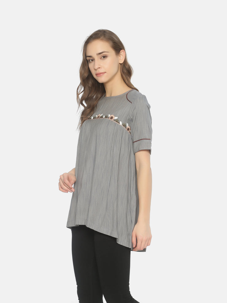 Curved Yoke Top - Studio Y - Embroidered Long Tops
