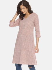 Striped Slit Kurta (Maroon) - Studio Y