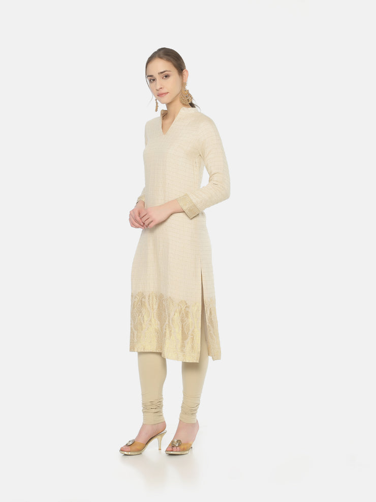 Moonga Checks Chinese Collar Kurta - Studio Y