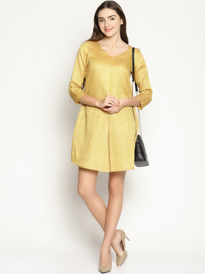 Mid Pleat Dress - Yellow - Studio Y