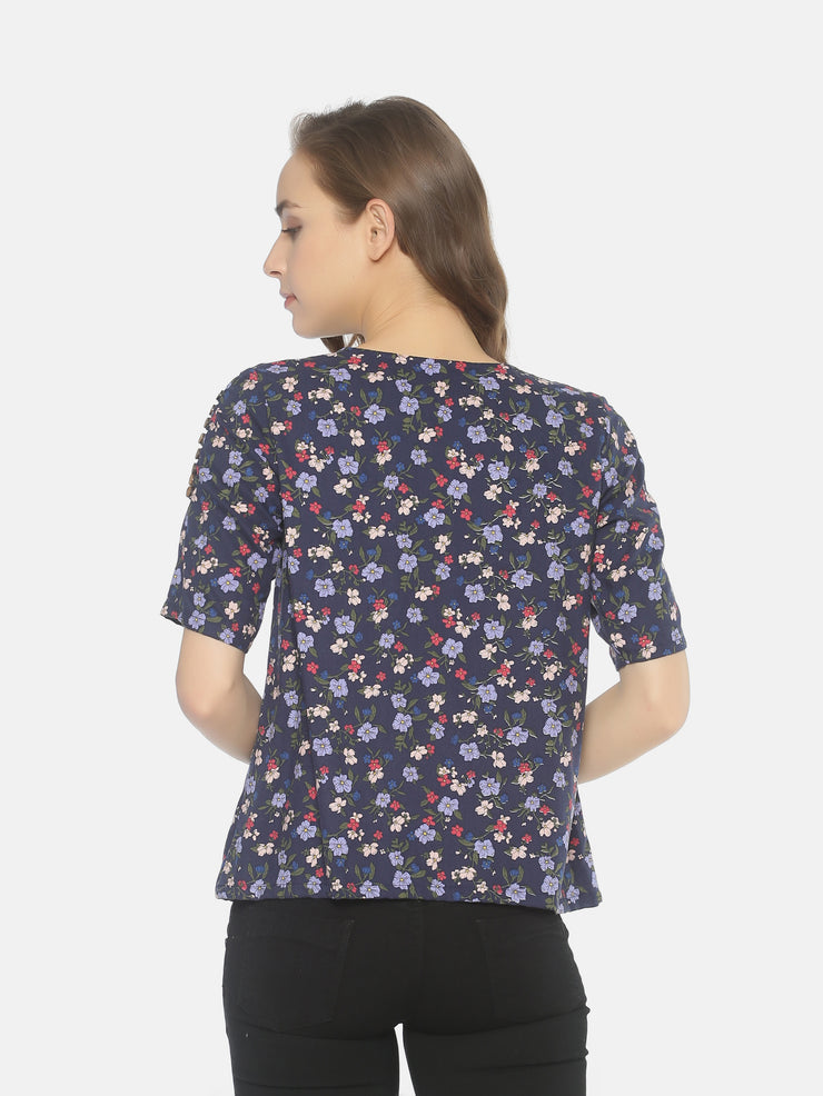 Floral Top Blue - Studio Y