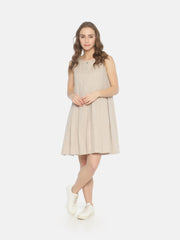 Pleated Dress Beige - Studio Y