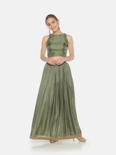 Pastel Green Gathers Skirt - Studio Y