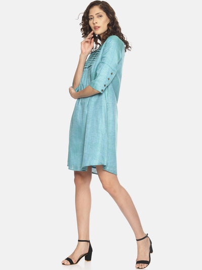 Row Tuck Dress (Blue)- ***sold out - Studio Y