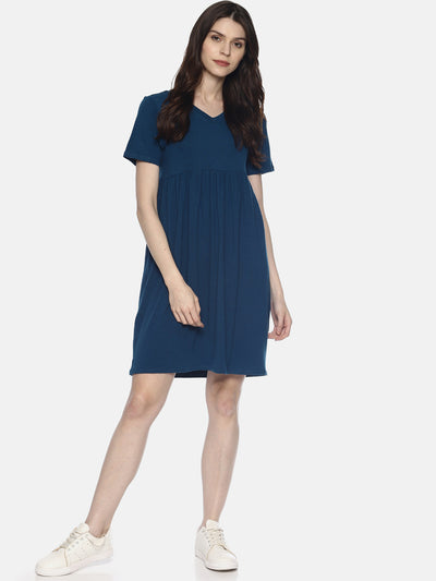 Blue Yoke Knit Dress - Studio Y