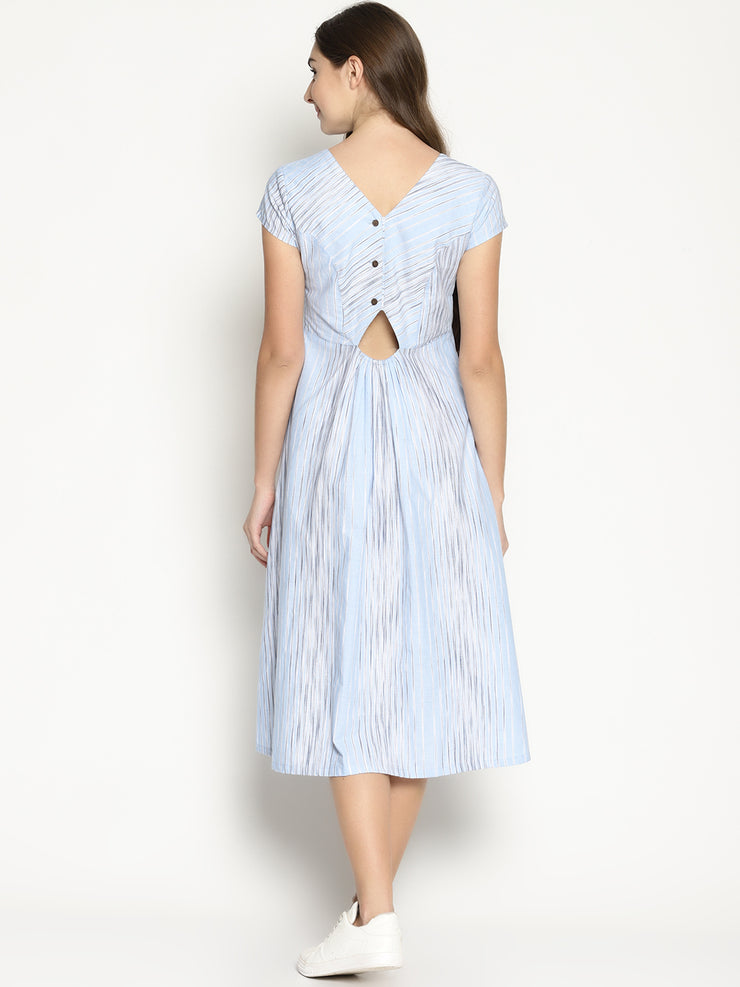 Back Open Dress - Blue Slub - Studio Y - blue and white striped outfit