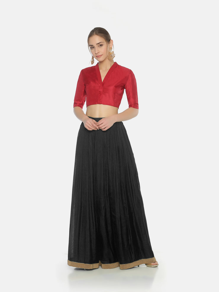 Dark Red Blouse - Studio Y - Silk saree blouse designs