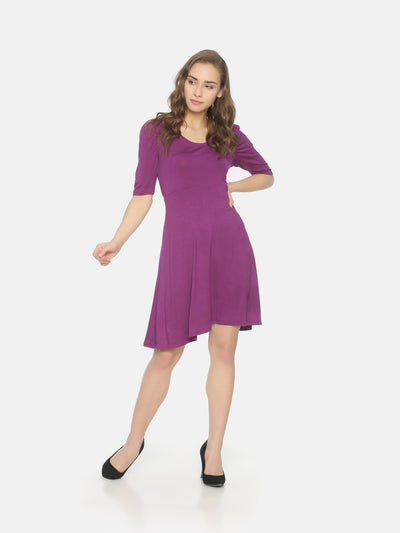 Puff Sleeve Skater Dress Purple - Studio Y
