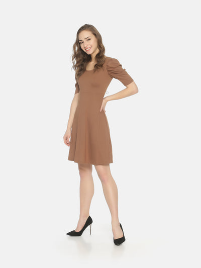 Puff Sleeve Skater Dress Brown - Studio Y