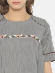 Curved Yoke Top - Studio Y - Embroidered Yoke Top