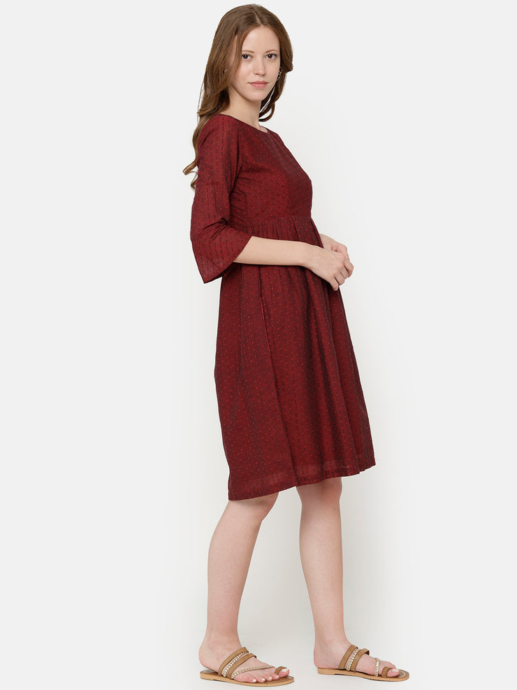 Bell Sleeve Dress - Maroon
