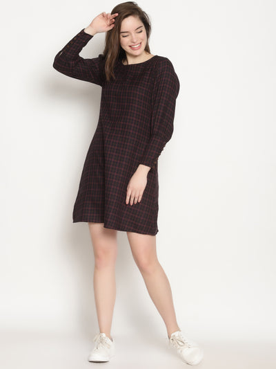 Bishop Sleeve Dress - Studio Y - Dress checkered