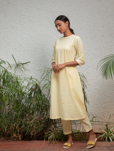 Side Gathers Kurta - Yellow