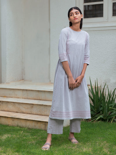 Side Gathers Kurta - Pastel Purple