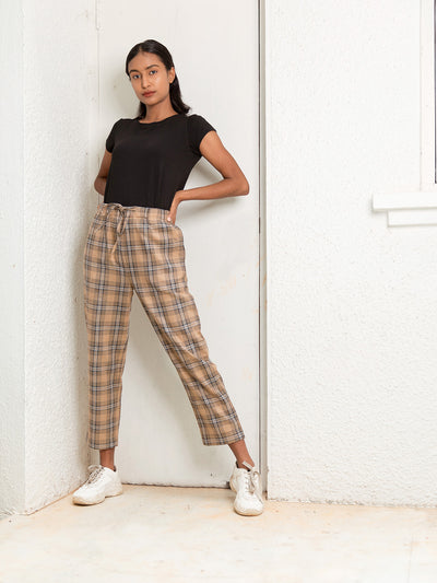 Label Y Basics Trouser Checks Elastic Pants - Brown Checks