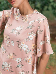 Floral Flared Sleeve Top - Pink