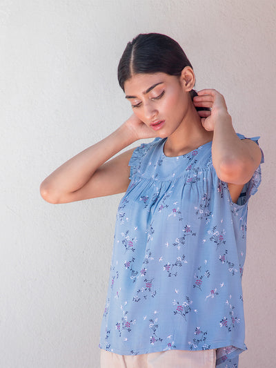 Label Y Basics Top Blue Floral Ruffle Top