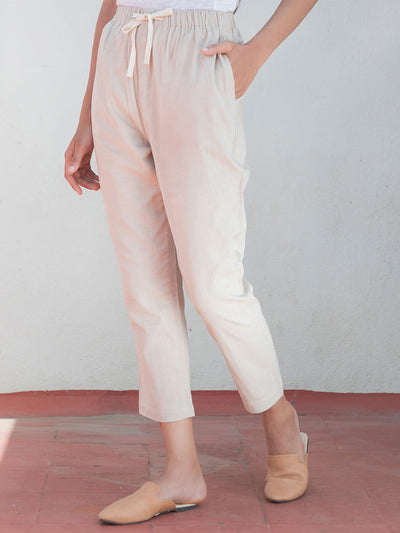 Label Y Basics Trouser Summer Pants Beige