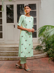 Green Embroidery Kurta