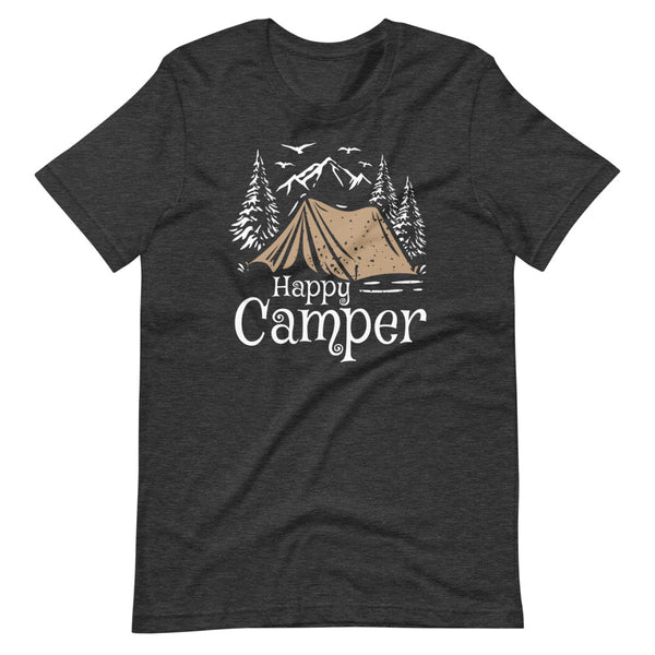 Happy Camper T-Shirt - Dark Grey Heather - Relatable Wear