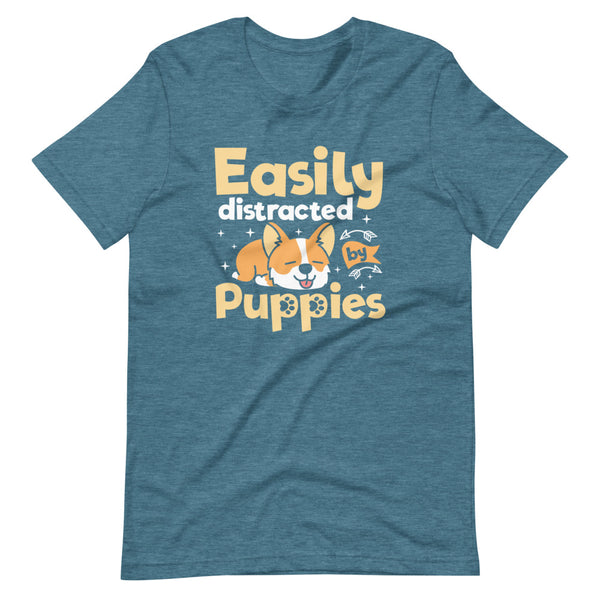 Easily Distracted By Puppies T-Shirt - Teal Blue Heather - Relatable Wear