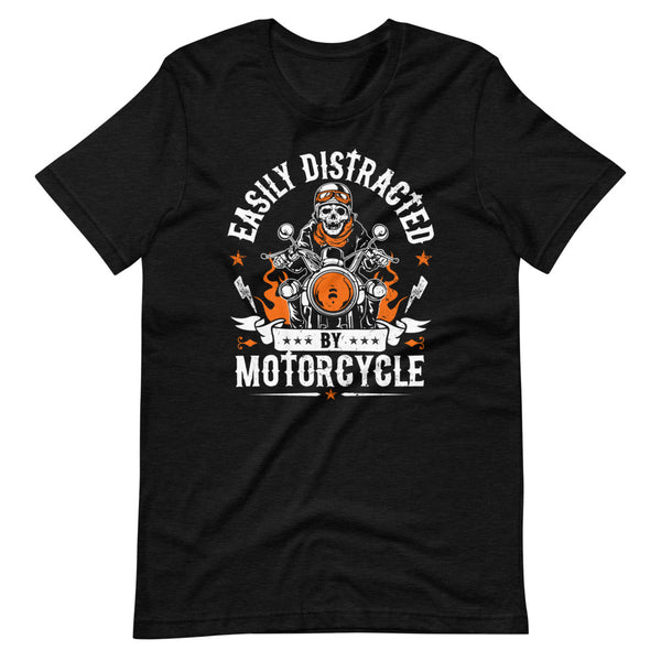 Easily Distracted By Motorcycle T-Shirt - Black Heather - Relatable Wear