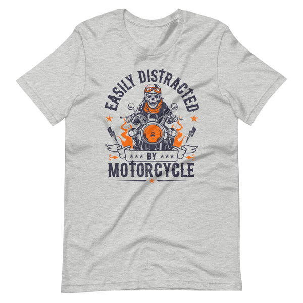 Easily Distracted By Motorcycle T-Shirt - Light Grey Heather - Relatable Wear