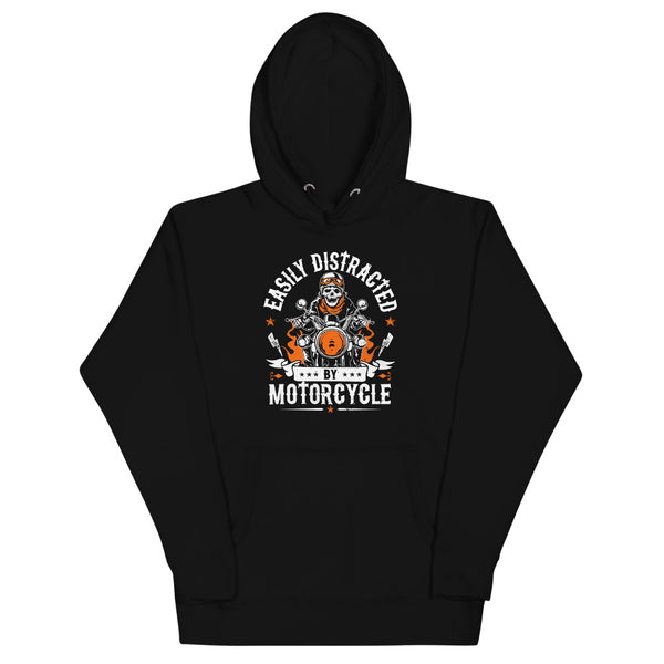 Easily Distracted By Motorcycle Hoodie - Black - Relatable Wear