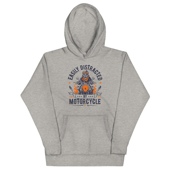 Easily Distracted By Motorcycle Hoodie - Grey - Relatable Wear