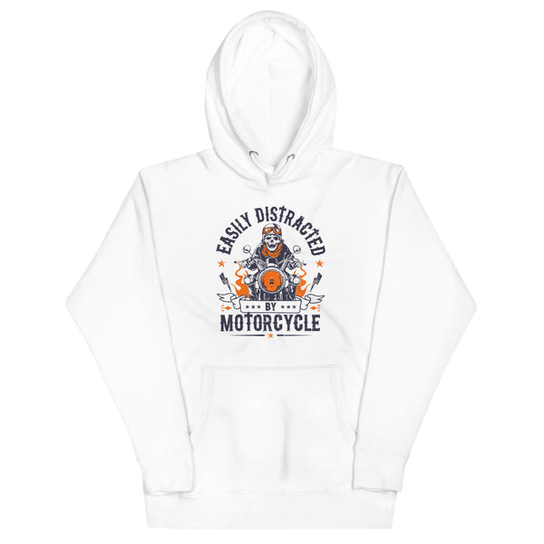 Easily Distracted By Motorcycle Hoodie - White - Relatable Wear