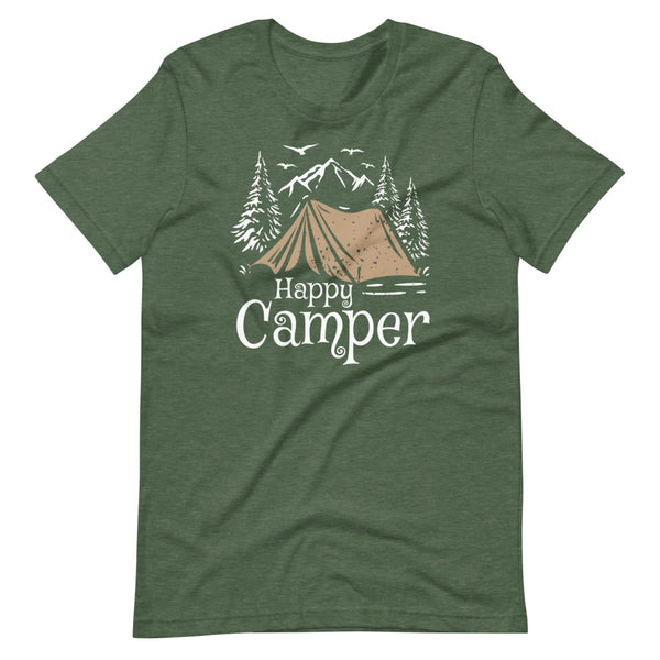 Happy Camper T-Shirt - Forest Heather - Relatable Wear