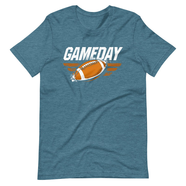 Game Day Football T-Shirt - Teal Blue Heather - Relatable Wear
