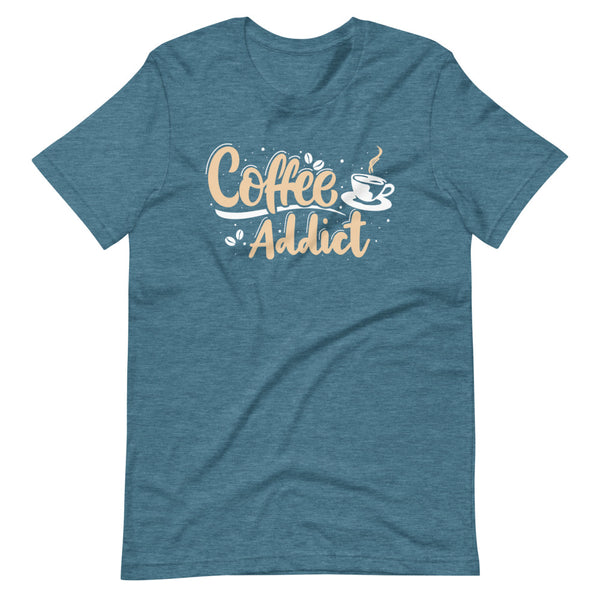 Coffee Addict T-Shirt - Teal Blue Heather - Relatable Wear