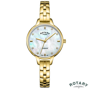 Rotary Ladies Gold Plated Bracelet Watch with Diamond Accents LB00106/41/D - YaamiFashion