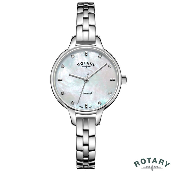 Rotary Ladies Stainless Steel Bracelet Watch with Diamond Accents LB00105/41/D - YaamiFashion