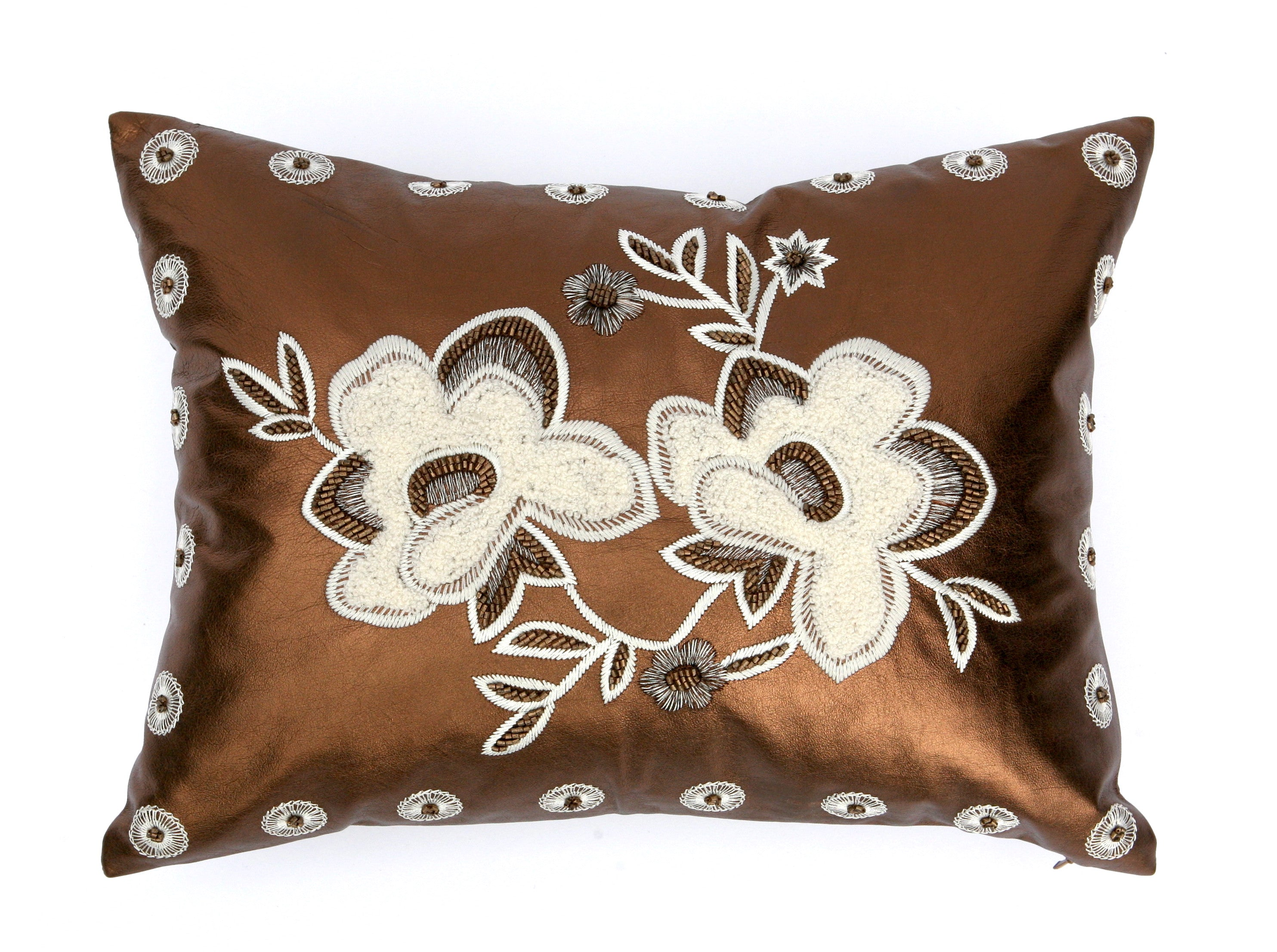 Bronze 'Metallic Garden' Pillow: Small