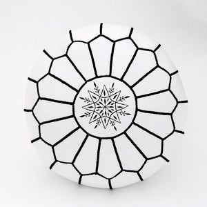 Handmade Moroccan Leather Poof - White + Black