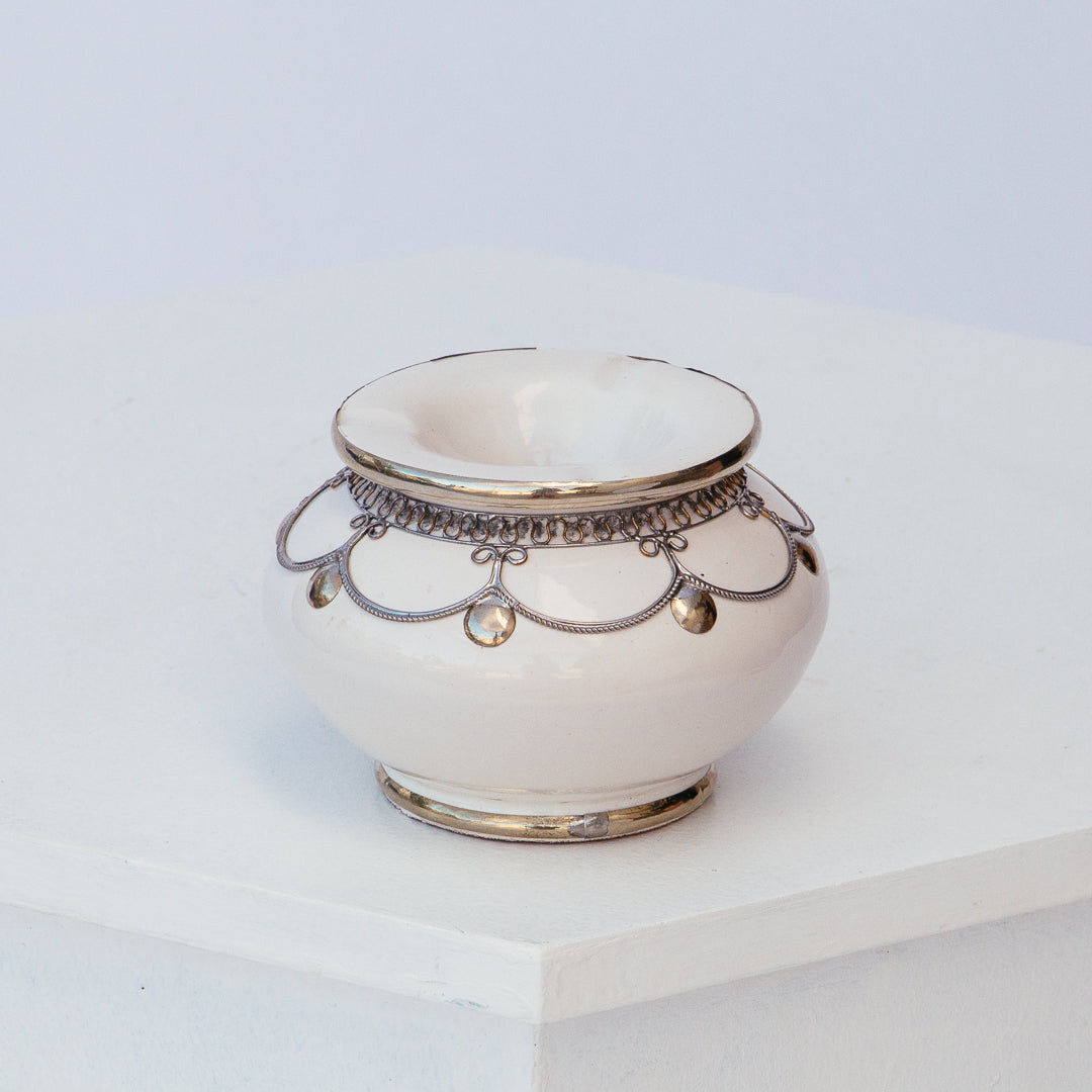White Moroccan Ashtray with Silver Detail