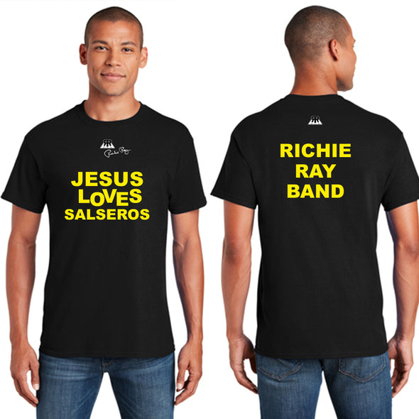 "Shirt ""Jesus Loves Salseros - Richie Ray"" - Short-Sleeve Unisex - Black 2 Sided"