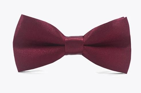 Burgandy Satin Childrens Kids Child Bow Tie for girls and boys. Wedding, church or special occasion attire.