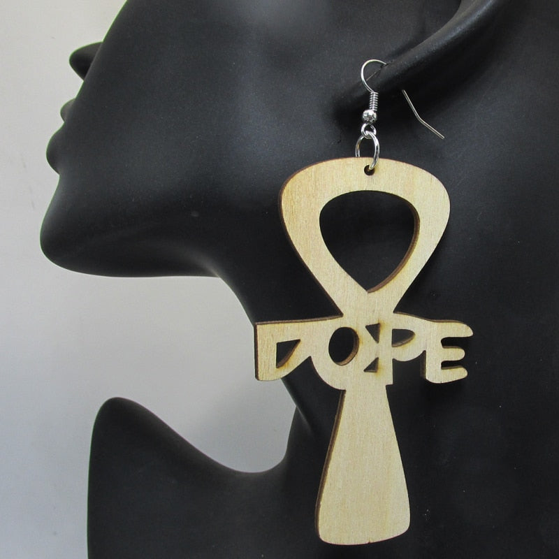 Dope Ankh Wooden Earrings