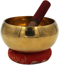 Load image into Gallery viewer, DharmaObjects Tibetan Extra Large Heavy Meditation Ring Gong Hammer Mark Singing Bowl With Mallet and Silk Cushion