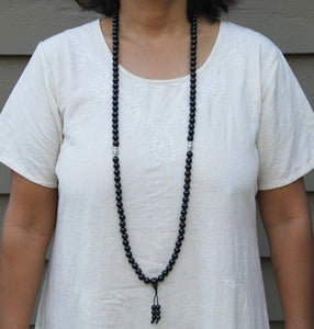 Tibetan Turquoise 108 Beads Mala Meditation Yoga With Silver Guru Bead And Silver Spacers - DharmaObjects